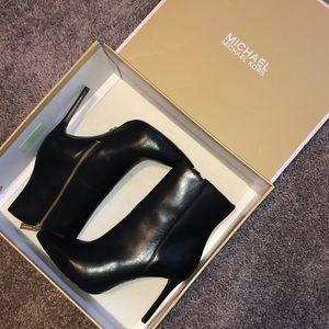 Michael Kors black leather Leona Booties
